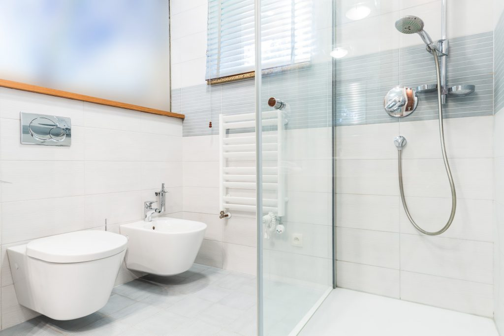 Modern bathroom with picture