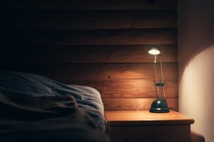 Bedroom lamp on a night table