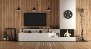 Home cinema in rustic stryle with fireplace