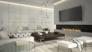 Interior of living room with stylish fireplace 3D rendering 2
